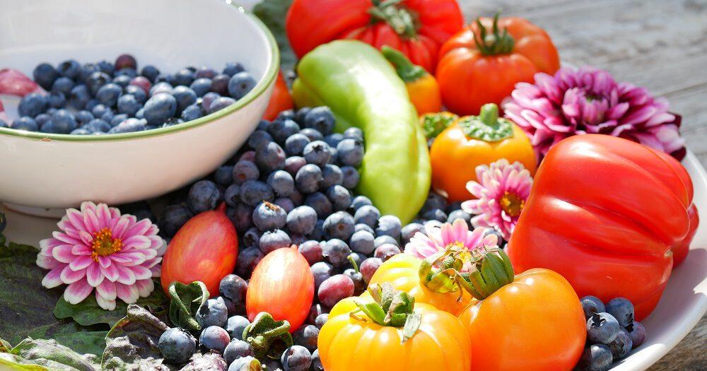 Een schaal met onder andere tomaten, blauwe bessen en bloemen uit Diana's mooie moestuin.